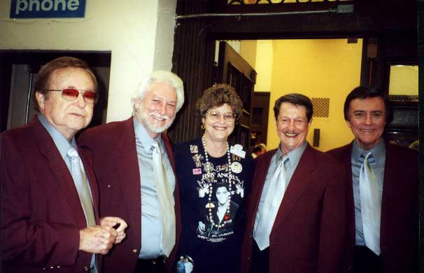 Photo of Elvis' Angels Fan Club President, Dianne Harmon (formerly Dianne Patrick), with legendary quartet, The Jordanaires
